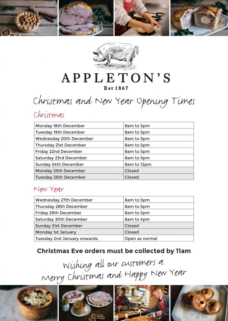 Open For Christmas Orders.Christmas Order Forms Opening Hours Appleton S